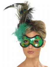 Venetian Emerald Peacock Feather Eye Mask